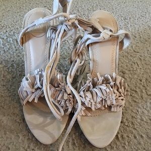 Brand New Nude Shaggy Tie Up Heels Sz 7